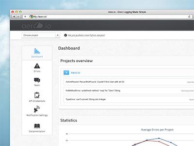 Aero.io Dashboard aero cloud sky error logging app dashboard application
