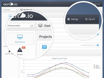 Aero.io Dashboard Design aero.io dashboard error logging app minimal minimalistic application system error