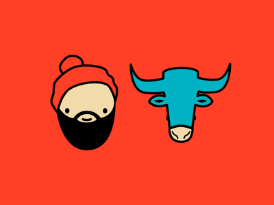 Paul & Babe Illustration woods forest northwoods lumberjack babe the blue ox paul bunyan sketch drawing graphic illustration