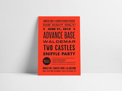 Advance Base Gig Poster Design graphic design design letterpress classic typography vintage band design music concert gig poster poster