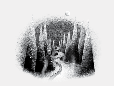 Volume One Magazine Editorial Illustration design spooky graphic winter woods forest dragon texture photoshop editorial illustration illustration