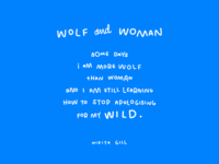 Wolf and Woman Lettering, 2017