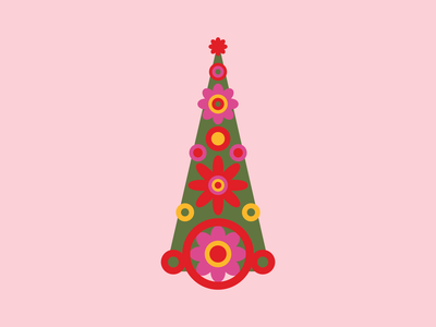 Groovy Holiday Tree Illustration, 2019