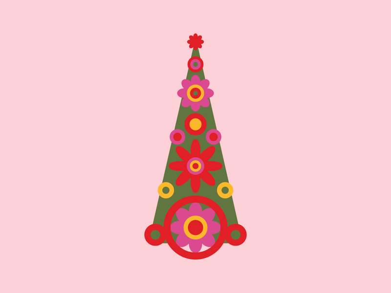 Groovy Holiday Tree Illustration, 2019 drawing illustrations psychadellic 1960 mod groovy trippy vector illustration