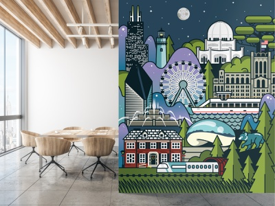 Brady Ortho Wall Graphic willis tower the bean stone container building northwestern memorial hospital mural illinois home alone grosse pointe lighthouse ferris wheel chicago cubs buckingham fountain bahai temple amtrak illustration chicago
