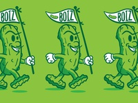 Pickle Boiz cucumber walking pickle boiz doodle mascot flag design character boiz green drawing illustration pickle