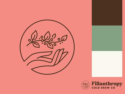 Fillanthropy Cold Brew Co. growth giving community philanthropy handmade cold brew hand plant coffee branding logo