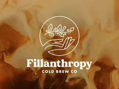 Fillanthropy Cold Brew Co giving growth community plant hand cold brew coffee bean coffee branding logo