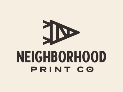 Neighborhood Print Co. pennant simple thick lines monoline n logo triangle