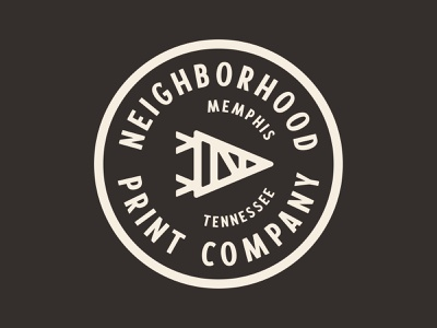 Neighborhood Print Co. pennant branding monoline thicklines logo n triangle