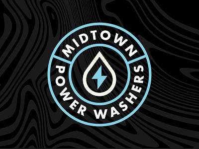 Midtown Power Washers clean wash pressure wash power wash bolt drop water badge branding logo
