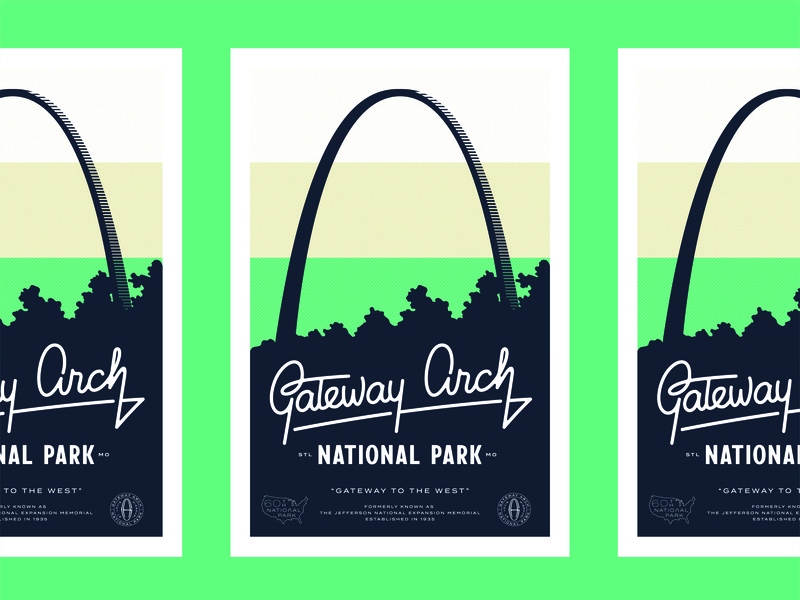 Gateway Arch Poster stl arch national park gateway arch hand lettered script typography poster