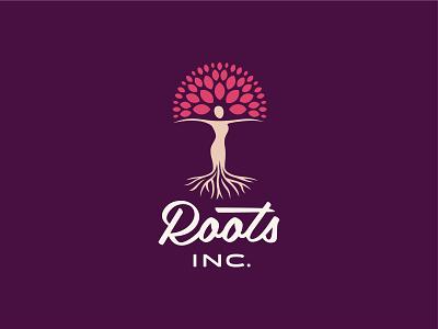 Roots Inc. script figure nature roots tree femininie female logo mark tennessee jackson identity branding logo