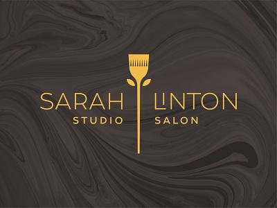 Sarah Linton Logo contemporary beauty stylist studio salon studio flower brush hair salon hair branding logo