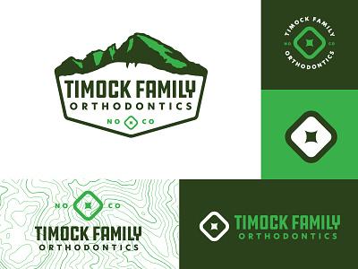 Timock Family Orthodontics Logo Family green topo topographic map outdoors mountains teeth tooth molar no co colorado identity branding logo
