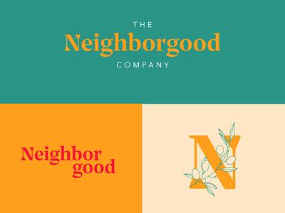 The Neighborgood Company brand identity brand design design yellow olive branch olives wordmark