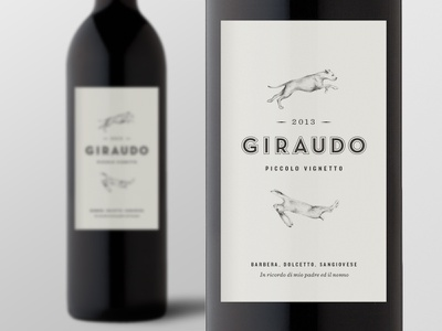 Giraudo: Piccolo Vignetto bottle pencil drawing illustration packaging white black italian bottle label rabbit dog wine