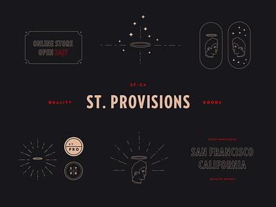 Saint Provisions outline head illustration lockup logotype brand branding store typography statue halo logo