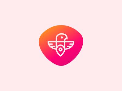 Bird Logo with localization sign