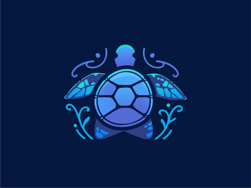 Turtle illustration turtles turtle stone blue shiny vector illustration animals domek marzec logo