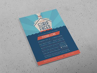Let's Get Ship-Faced party invitation cruise ship print design wedding shower wedding invitation