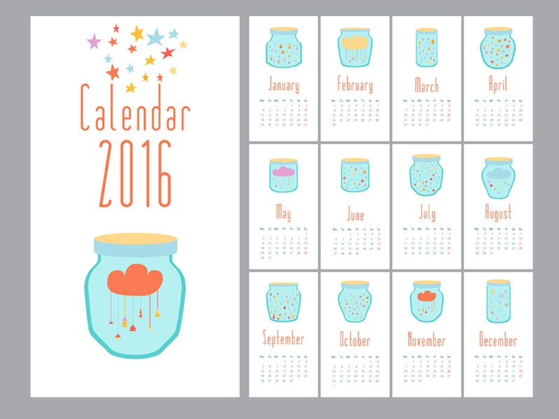 Calendar 2016 graphic star template vector new year business day date page 2016 365 calendar