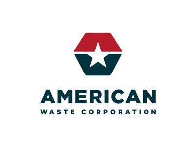 American Waste Corp identity logo w a star waste america