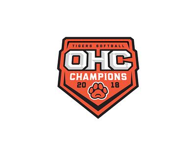OHC Champs logo champions paw badge tigers softball sports badge sports