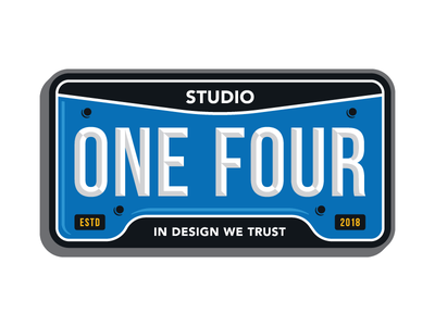Vanity Plate one four studio state state plate plate license plate