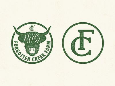Forgotten Creek Farm animal fc cattle farmer monogram cow farm logo
