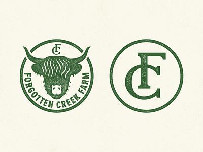 Forgotten Creek Farm animal fc cattle farmer monogram cow farm logo