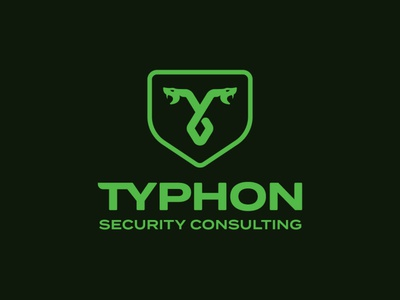 Typhon Security Consulting badge shield branding logodesign logo cyber security security logo snake logo snake