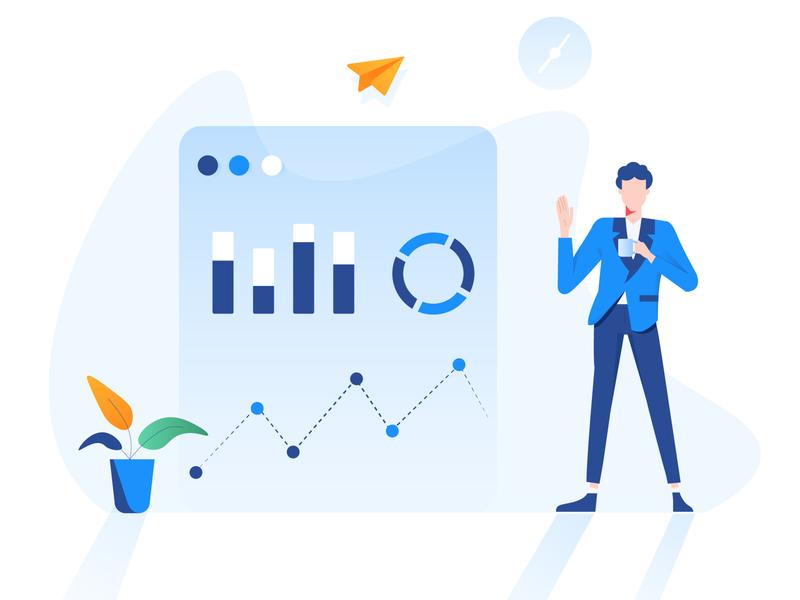 Data analyst illustration data data visualization character illustration pack icon design vector illustration