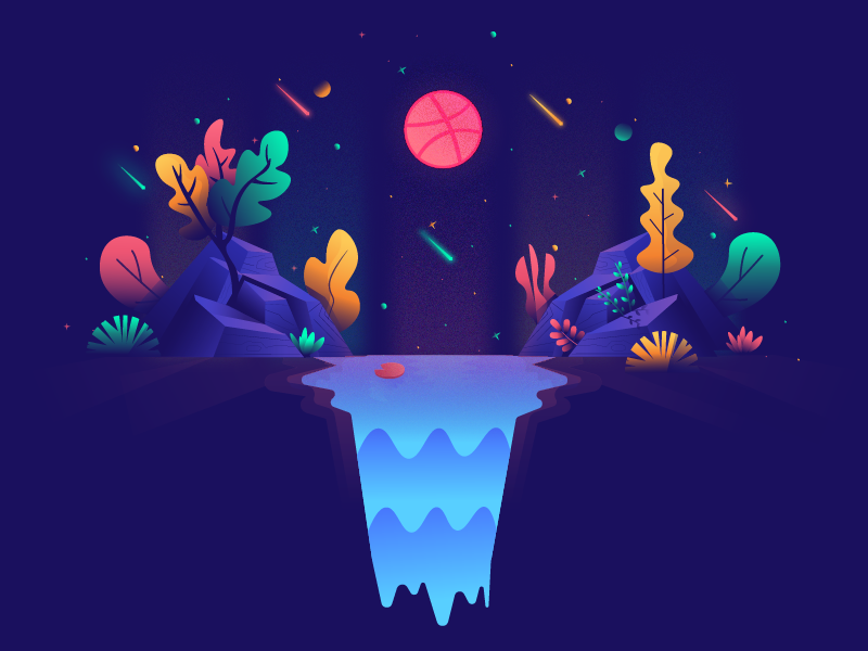 Hello Dribbble! debut first shot hello dribbble valley landscape illustration