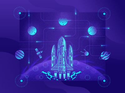 Rocket Launch space. planet. .design illustration space cosmos satellite . rocket