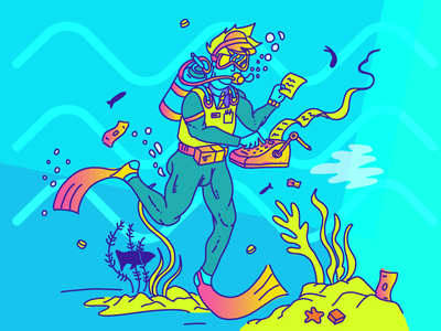Scubaccountant blue water fish accountant money diver scuba ocean illustration