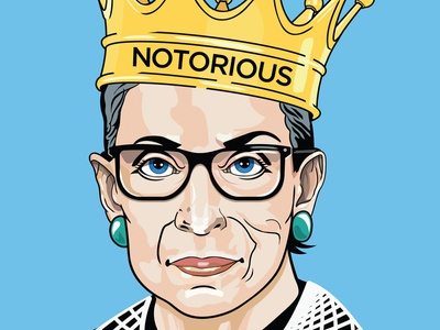 The Notorious RBG legal flat color female ruth bader ginsburg rbg notorious rbg 2018 portrait illustration portrait painting political vector digital illustration