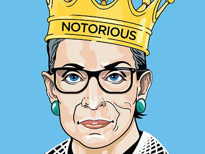 The Notorious RBG legal flat color female ruth bader ginsburg rbg notorious rbg 2018 portrait illustration portrait painting political vector digital illustration