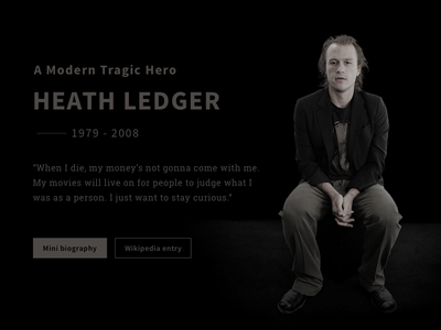 Heath Ledger Tribute Page cinema batman joker website minimal homepage black tribute heathledger