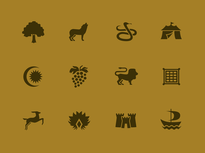 Tribes of Israel icons illustration israel icons