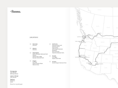 The Reimers trip map table of contents locations route map road trip