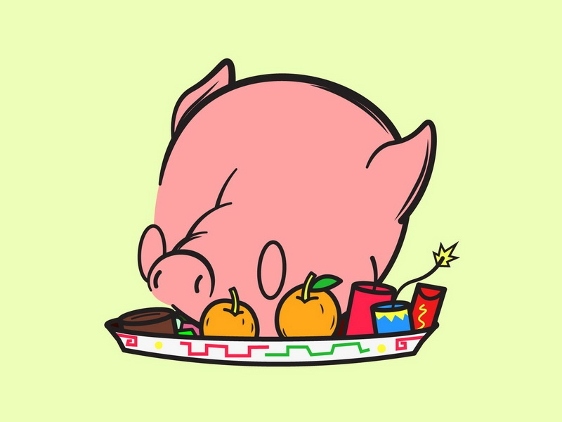 Pig doodle cartoon pig character art drawing vector illustration