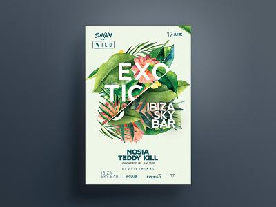 Exotic Slice Poster travel island tropical garden bar ibiza party dj flyer poster summer exotic