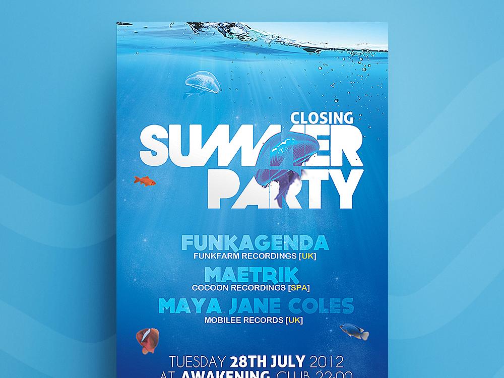 Underwater / Poster. template beach sealife ocean aquatic design poster flyer exotic party summer