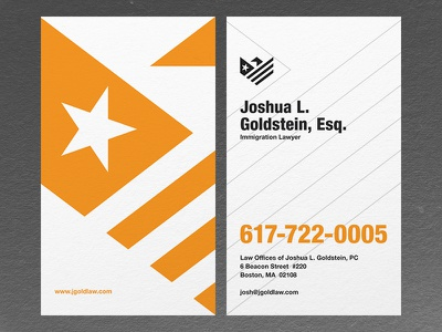 Law Offices of Joshua Goldstein - Business Card immigration lawyer law usa flag shield eagle stationary identity businesscard
