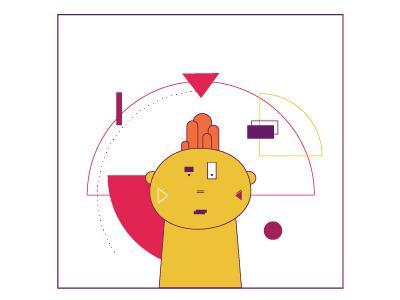 Look Around abstract 2d shape animation vector illustration