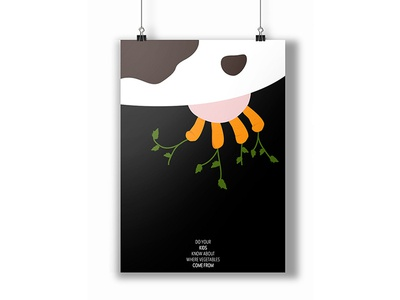 Poster carrot veggie vegetable children kids illustration poster