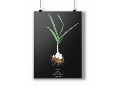 Poster onion veggie vegetable children kids illustration poster