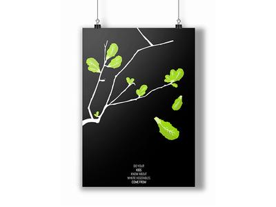 Poster lettuce veggie vegetable children kids illustration poster