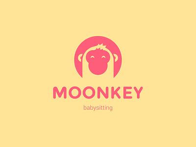 Logo Moonkey Babysitting App key moon pink yellow child children kids babysitting application moonkey monkey logo